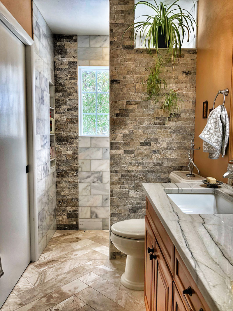 custom tile and stone bathroom