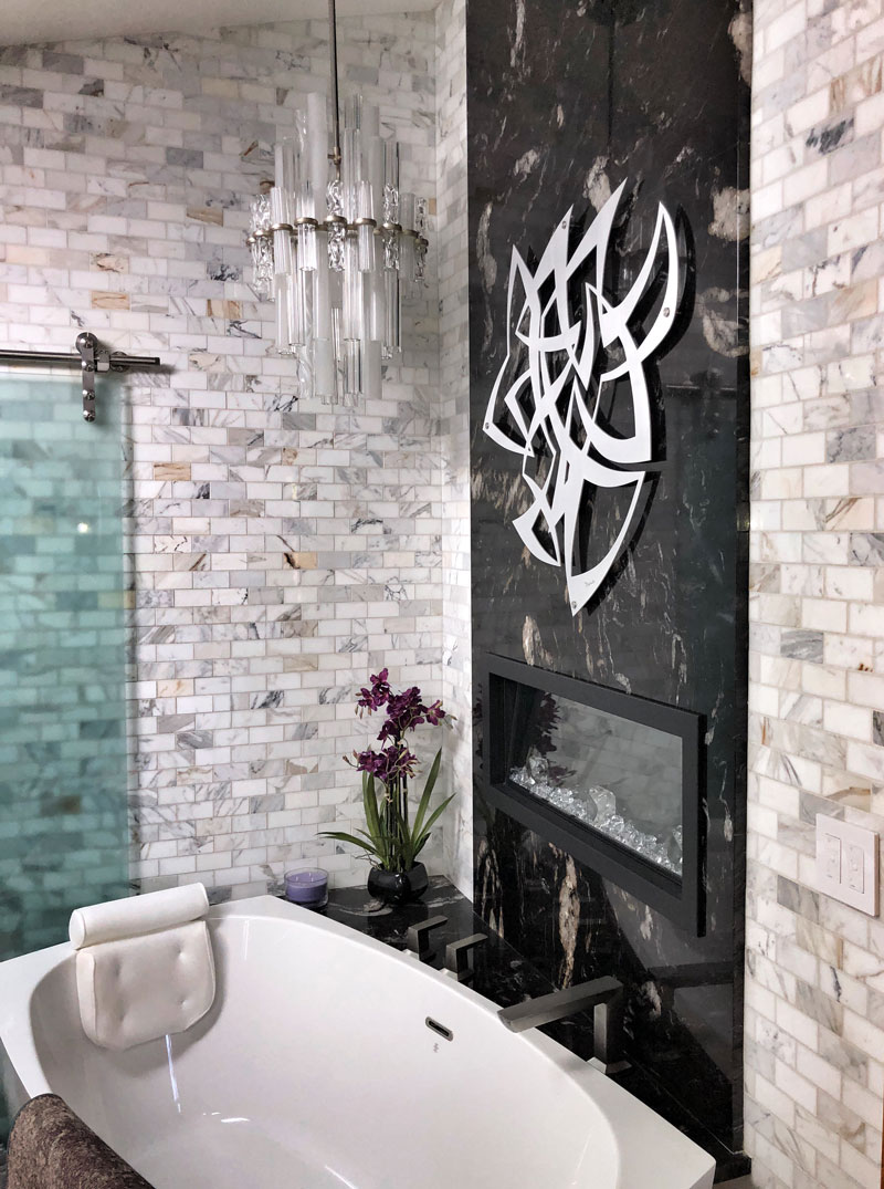 modern tile bathroom with free-standing tub