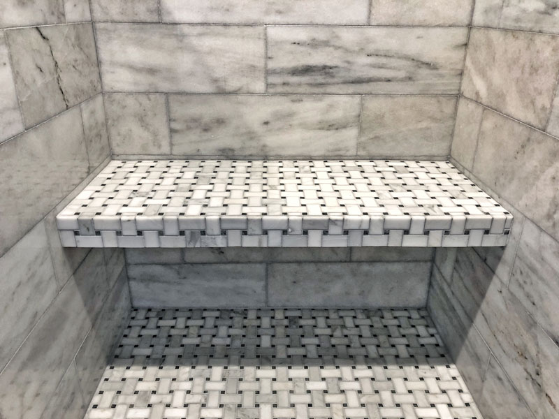 custom tile shower bench