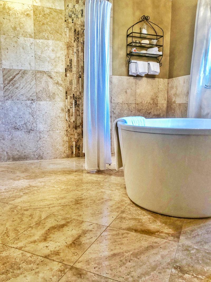 bathroom tile floor and walls
