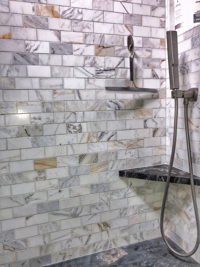 tile shower corner